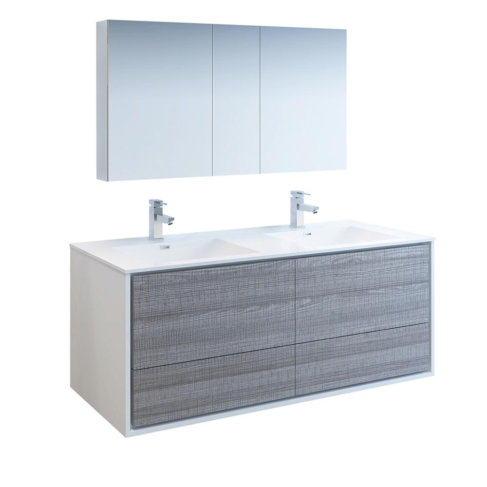 Fresca Catania 60 in. Modern Double Wall Hung Vanity in Glossy Ash Gray, Vanity Top in White with White Basins,Medicine Cabinet