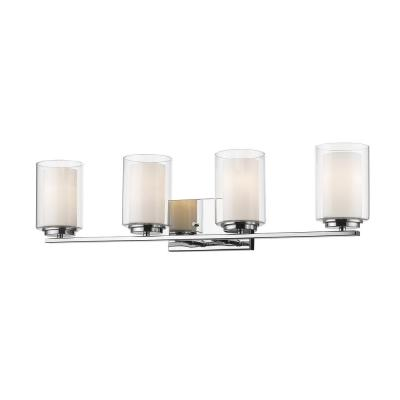 Lara 4-Light Chrome Bath Light with Clear and Matte Opal Glass Shade