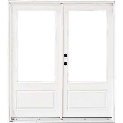 72 in. x 80 in. Fiberglass Smooth White Right-Hand Inswing Hinged 3/4 Lite Patio Door