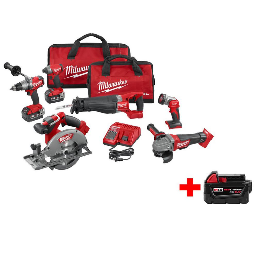 M18 FUEL 18-Volt Cordless Lithium-Ion Brushless Combo Kit (6-Tool) with Free