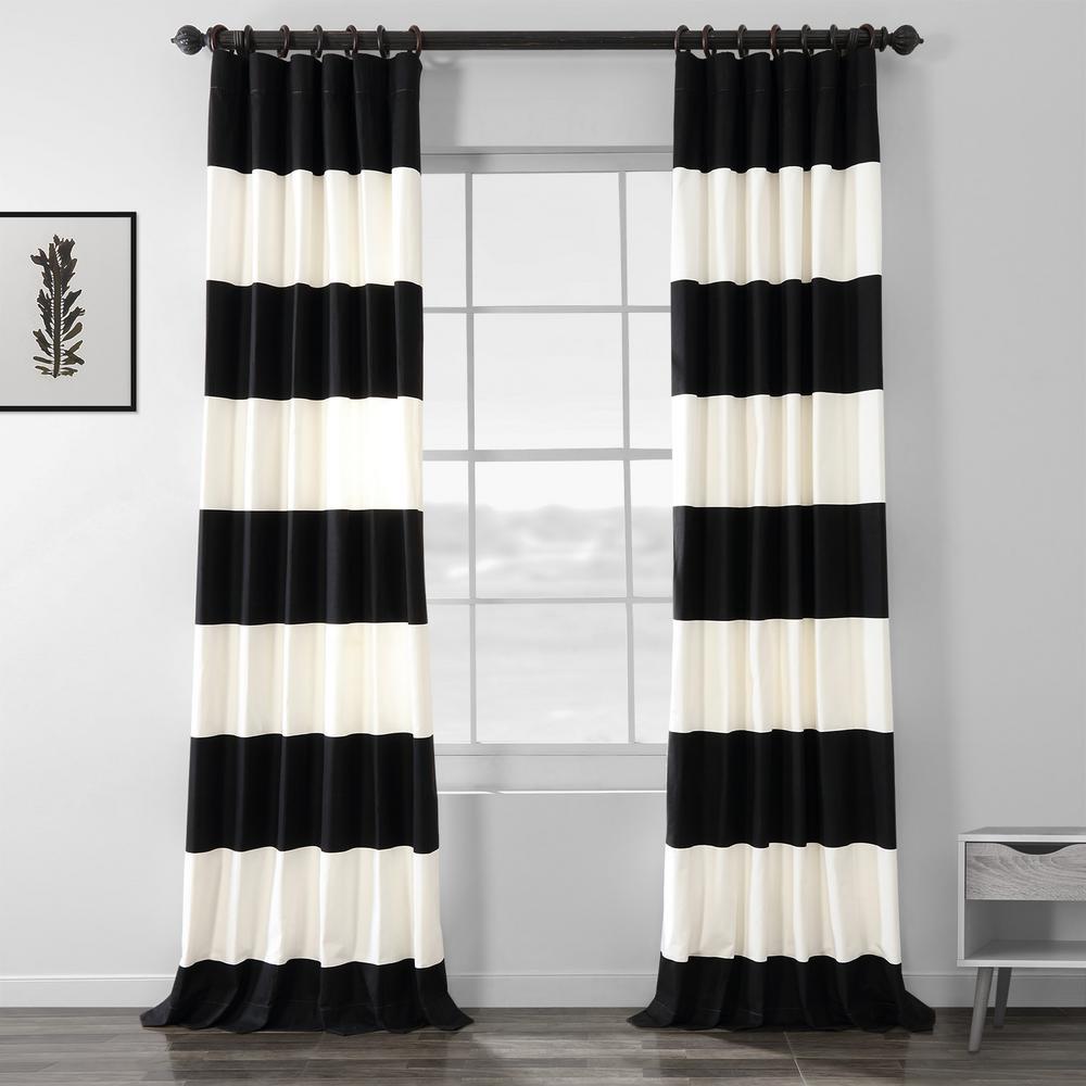 Onyx Black and Off White Room Darkening Horizontal Stripe Curtain - 50 in. W x 96 in. L