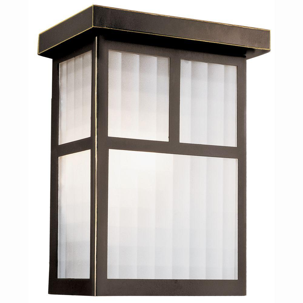 Bel Air Lighting Garden Box 1-Light Outdoor Oiled Bronze Wall Coach Light Sconce with Frosted Glass