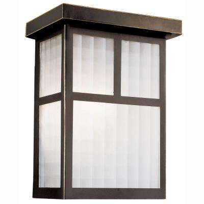 Garden Box 1-Light Outdoor Oiled Bronze Wall Coach Light Sconce with Frosted Glass