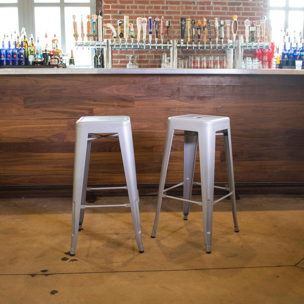 Loft Style 24 in. Stackable Metal Silver Bar Stool (Set of