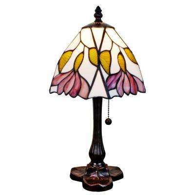 15.5 in. Multi-Color Floral Mini Table Lamp