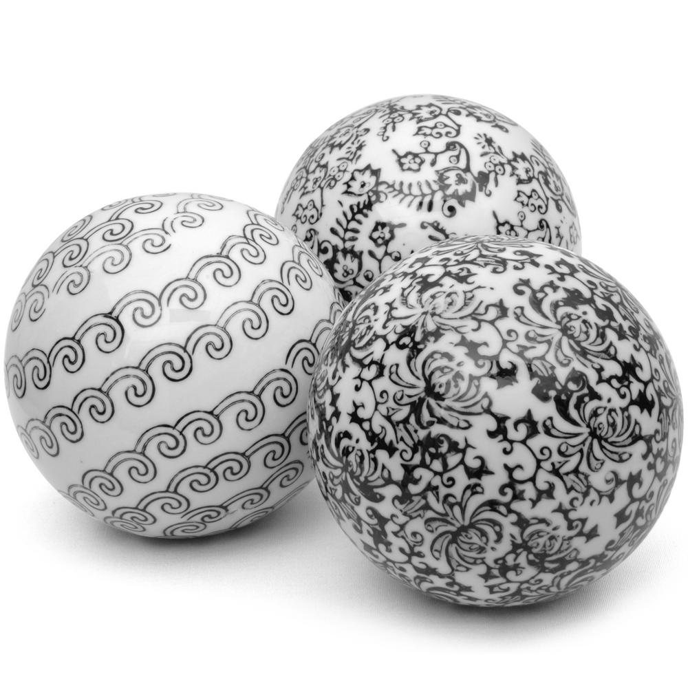 Oriental Furniture 4 in. Black and White Decorative Porcelain Ball Set