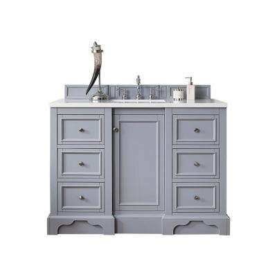 De Soto 48 in. W Single Vanity in Silver Gray with Marble Vanity Top in Carrara White with White Basin