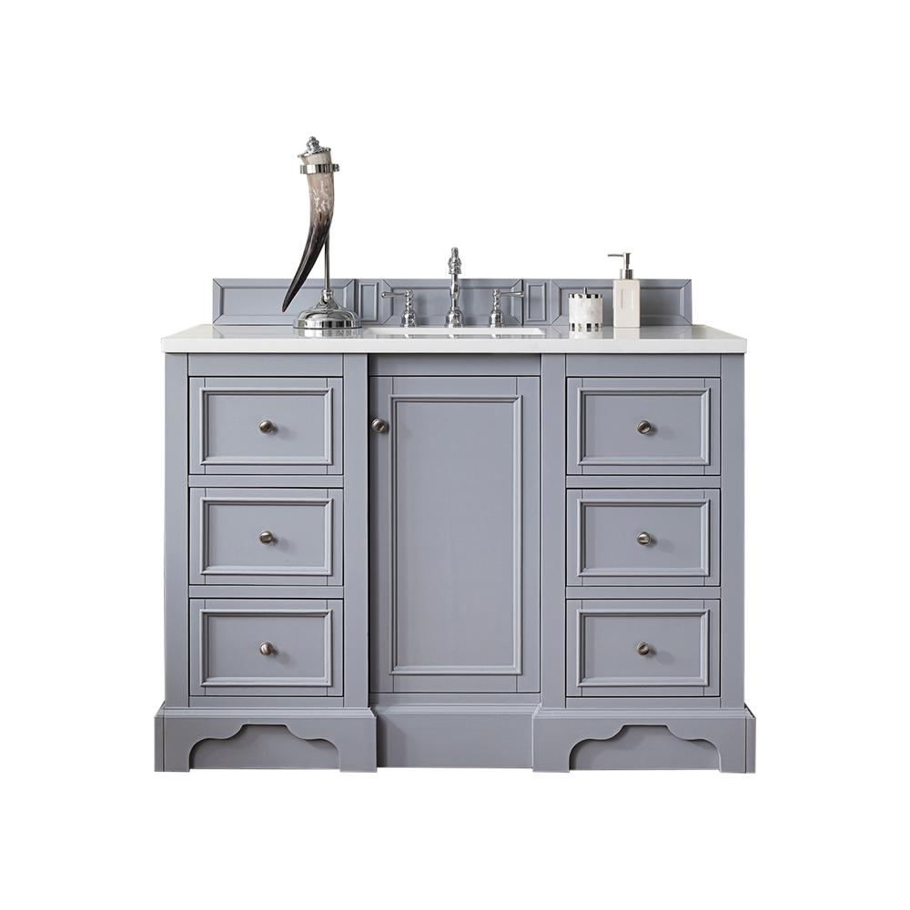 James Martin Vanities De Soto 48 in. W Single Vanity in Silver Gray with Marble Vanity Top in Carrara White with White Basin