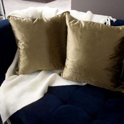 Lucas Velvet 2-Piece Decorative Pillow Set in Taupe