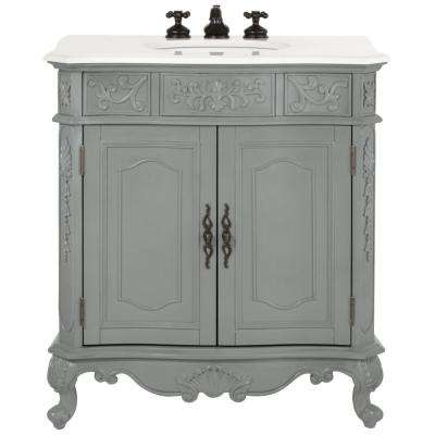 Winslow 33 in. W Vanity in Antique Grey with Marble Vanity Top in White with White Basin