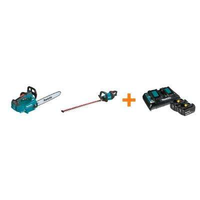 18V X2 LXT Electric 16 in. Top Handle Chain Saw and 18V LXT 30 in. Hedge Trimmer with bonus 18V LXT Starter Pack