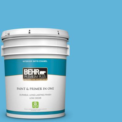 Behr Premium Plus 5 Gal S460 3 Blue Echo Satin Enamel Low Odor Interior Paint And Primer In One 740005 The Home Depot