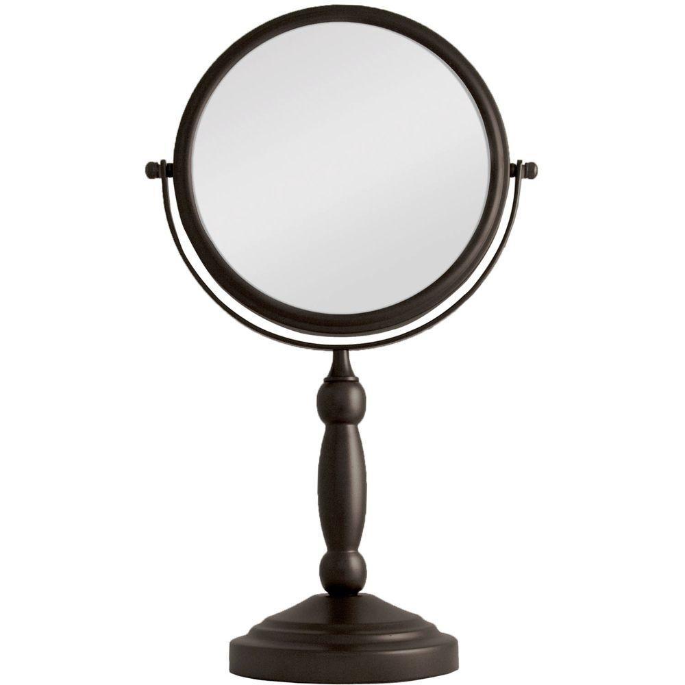 16 in. L x 9 in. W 360° Swivel Round Freestanding Bi-View 10X/1X Magnification Vanity Beauty Makeup Mirror in Bronze