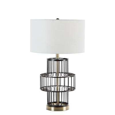 Gabriella 25.5 in. Black Wire Table Lamp with Shade