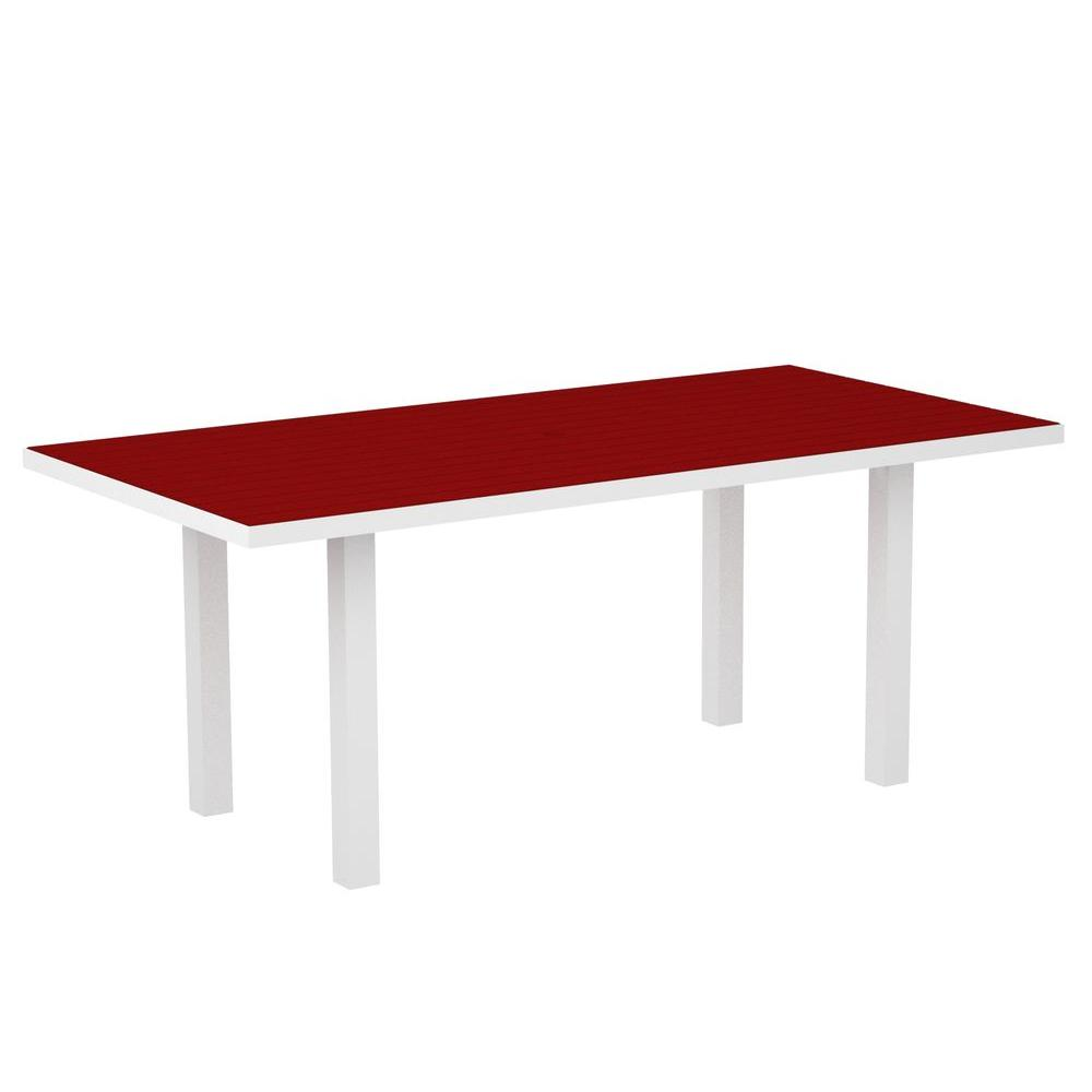 POLYWOOD Euro Gloss White 36 in. x 72 in. Patio Dining Table with Sunset Red Top-DISCONTINUED