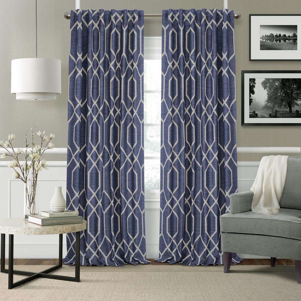 Devin Navy Polyester Single Blackout Window Curtain - 52 in. W x 84 in. L