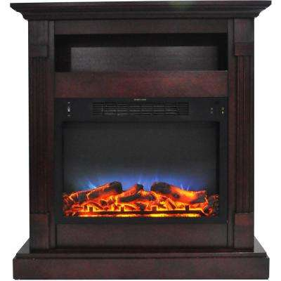 Sienna 34 in. Electric Fireplace with Multi-Color LED Insert and Mahogany Mantel