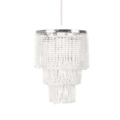 9 in. x 12 in. 1-Light White Pearlized Bead Pendant Triple Layer Lamp Shade