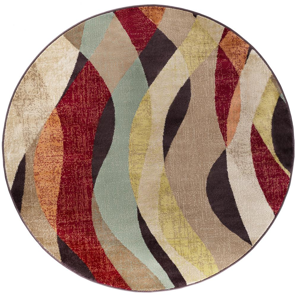 Tayse Rugs Deco Brown 8 Ft Transitional Round Area Rug