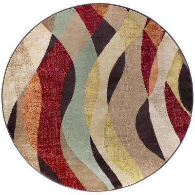 Deco Brown 8 ft. Transitional Round Area Rug