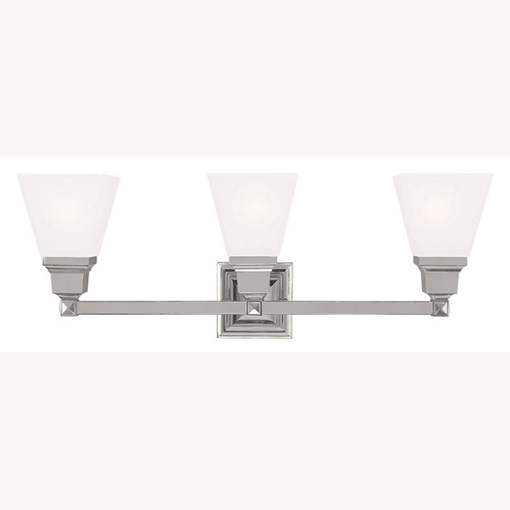 Livex Lighting Mission 3 Light Polished Nickel Bath