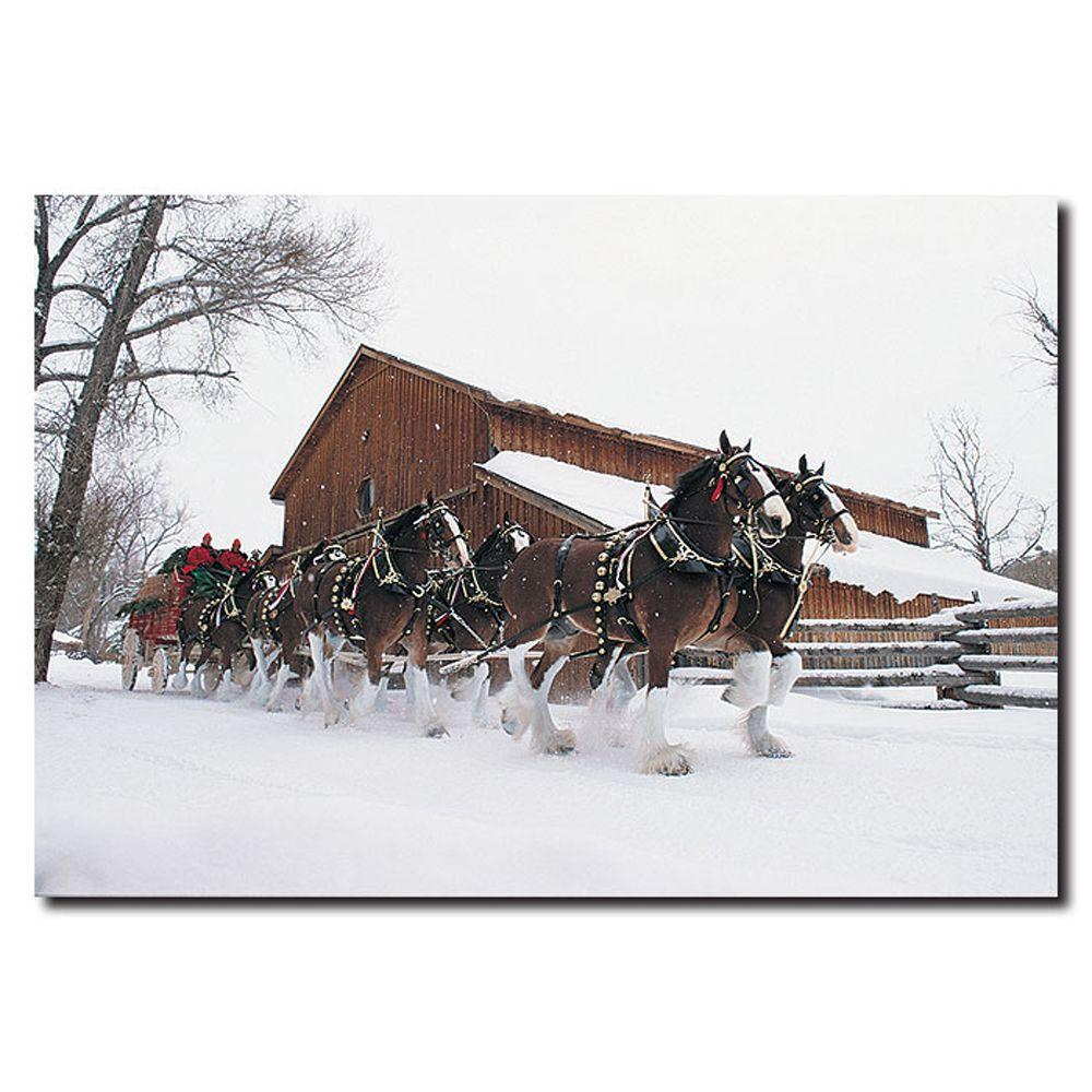 22 in. x 32 in. Clydesdales Snowing in Front of Barn