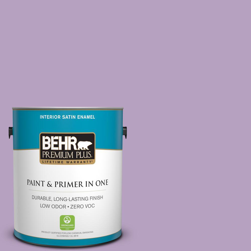 BEHR Premium Plus 1-gal. #660D-4 Lilac Rose Zero VOC Satin Enamel Interior Paint