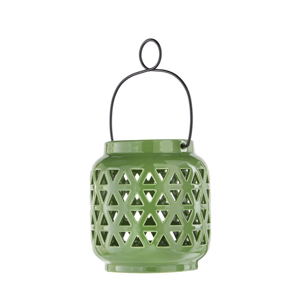 6.5 in. Ceramic Lantern in Fern