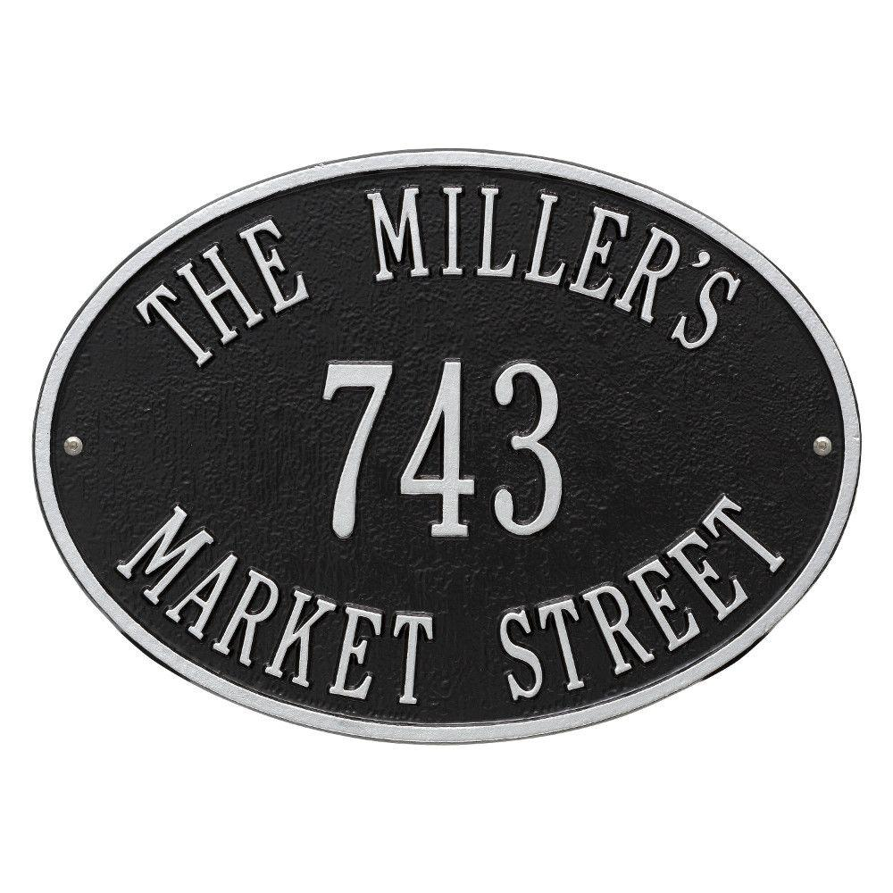 Whitehall Products Oval Hawthorne Standard Black/Silver Wall 3-Line Address Plaque
