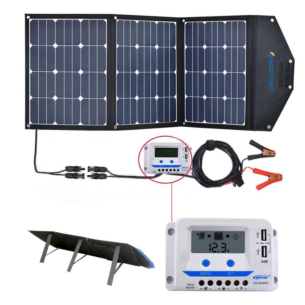 120-Watt Foldable Suitcase OffGrid Solar Panel Kit