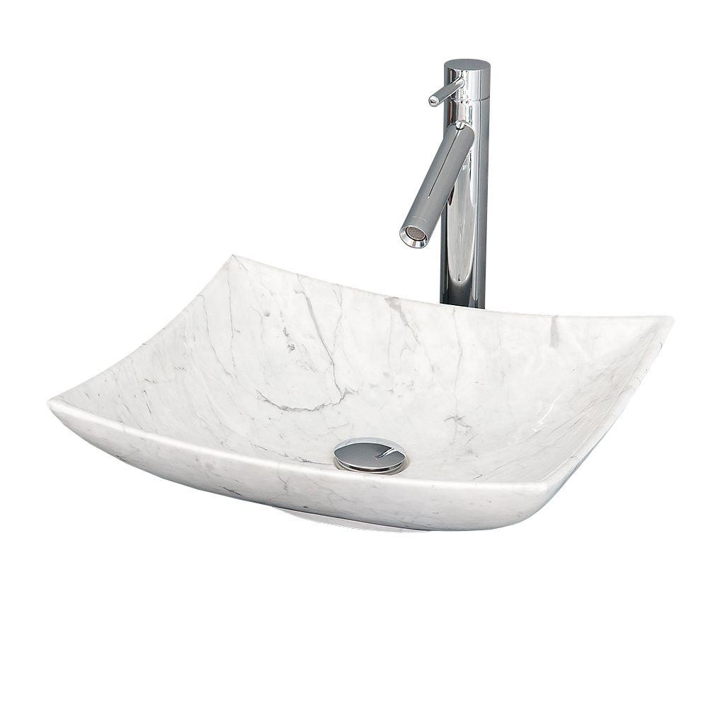 Wyndham Collection Arista Vessel Vanity Sink In White Carrera Marble