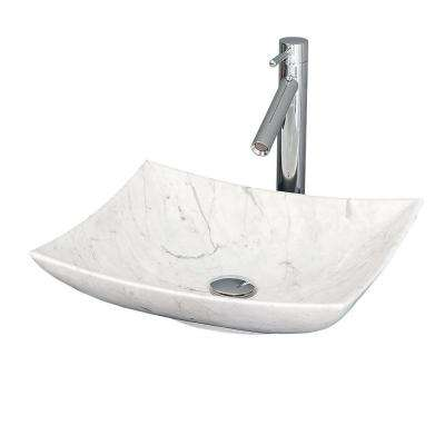 Arista Vessel Vanity Sink in White Carrera Marble