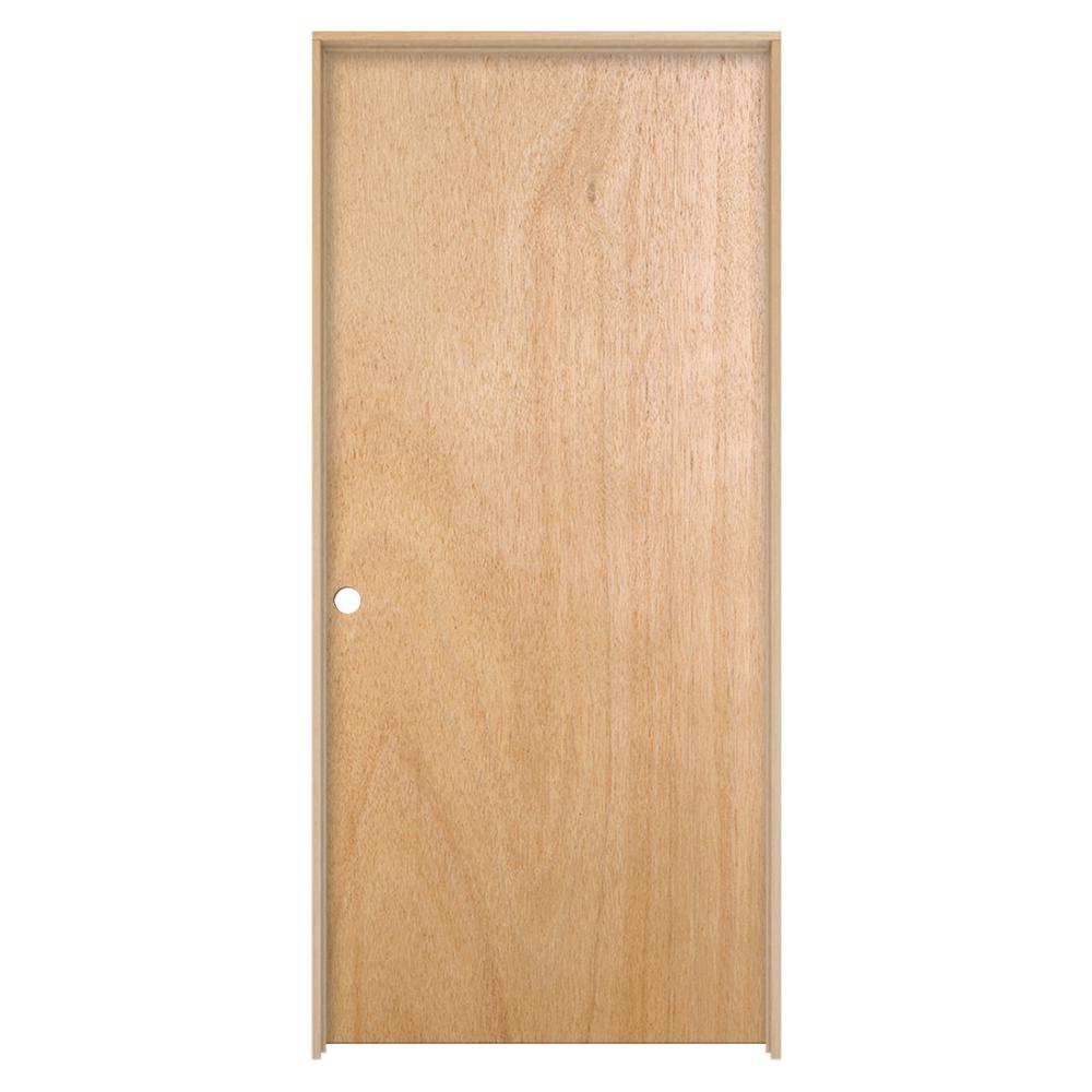 Unfinished Right Hand Flush Hardwood Single Prehung Interior Door W Split Jamb