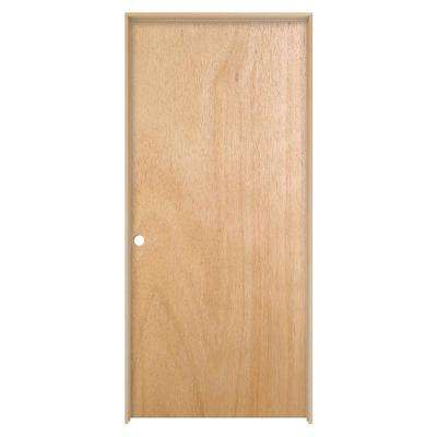 36 in. x 80 in. Unfinished Right-Hand Flush Hardwood Single Prehung Interior Door w/Flat Jamb