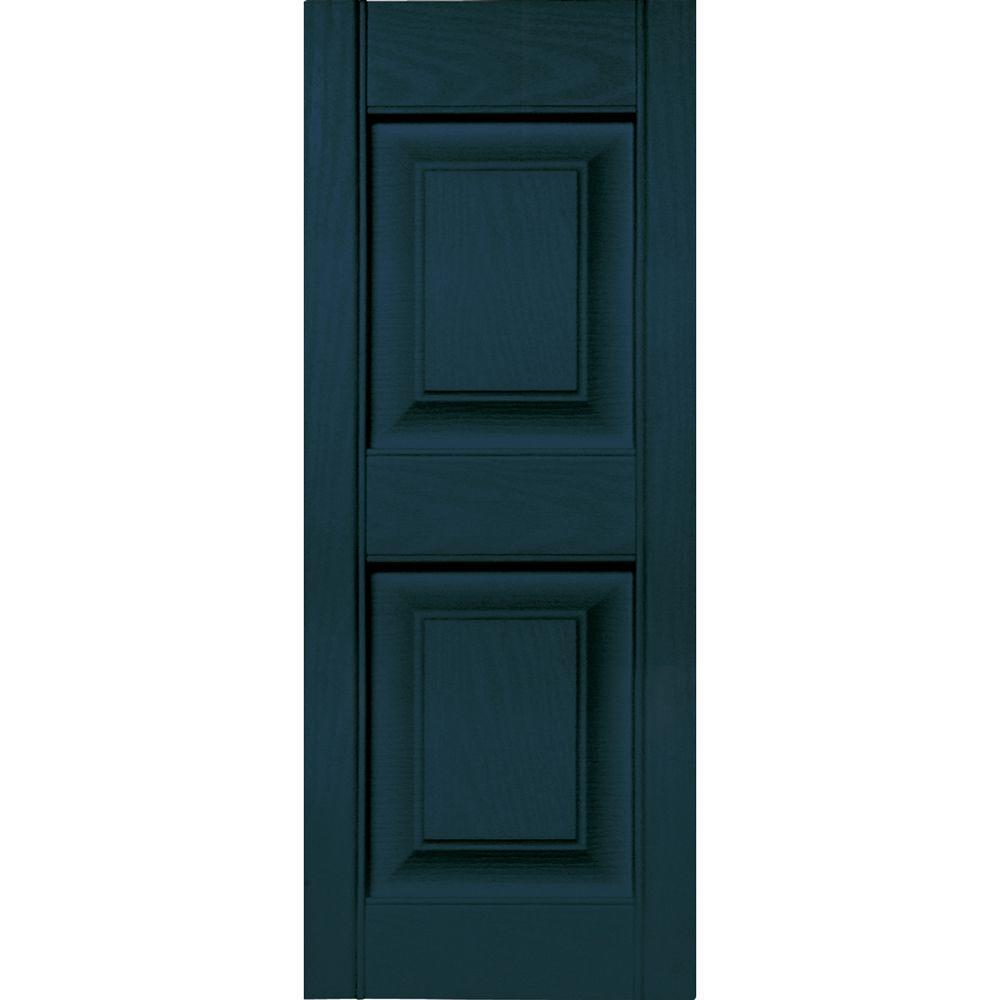 12 in. x 31 in. Raised Panel Vinyl Exterior Shutters Pair in #166 Midnight Blue