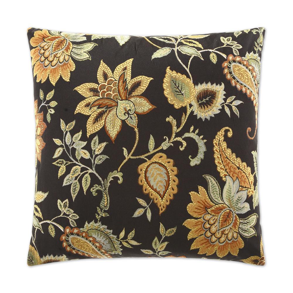 Veranda Black Feather Down 24 in. x 24 in. Standard Decorative Throw Pillow