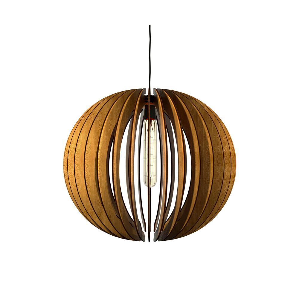 1-Light Walnut Varnish Pendant