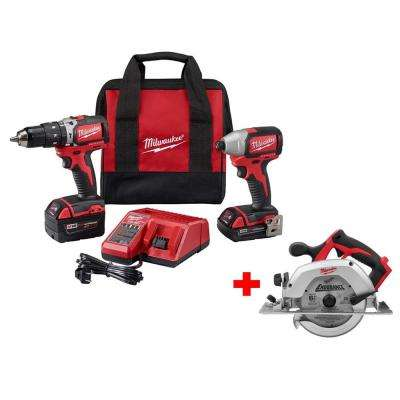M18 18-Volt Lithium-Ion Cordless Compact Brushless Hammer Drill/Impact Combo Kit w/ Free M18 6 1/2 in. Circular Saw