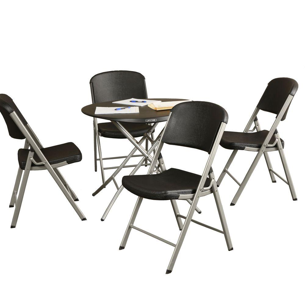 Lifetime 5-Piece Black Portable Folding Table Set