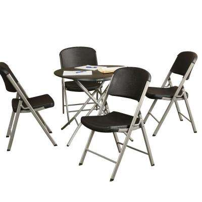 5-Piece Black Portable Folding Table Set