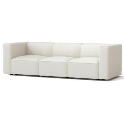 Node 91.6 in. Sand Fabric 3-Seater Tuxedo Sofa with Square Arms