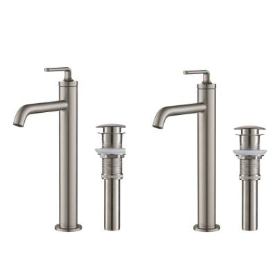 Ramus Single Hole Single-Handle Vessel Bathroom Faucet with Matching Pop-Up Drain in Spot Free Stainless Steel (2-Pack)