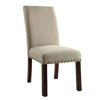 Linen Natural Tan Nail Head Parsons Chairs