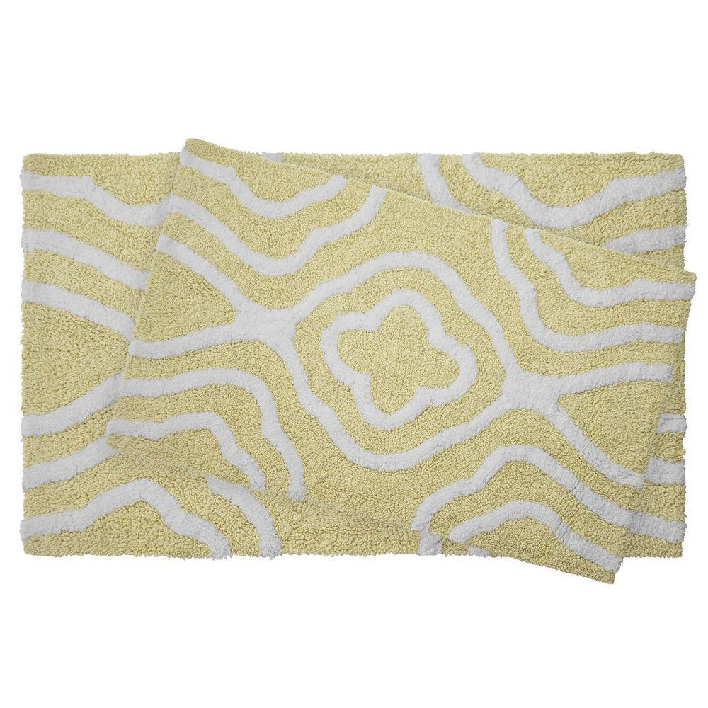 Jean Pierre Reversible Cotton Soft Giri Banana 2-Piece Bath Mat Set