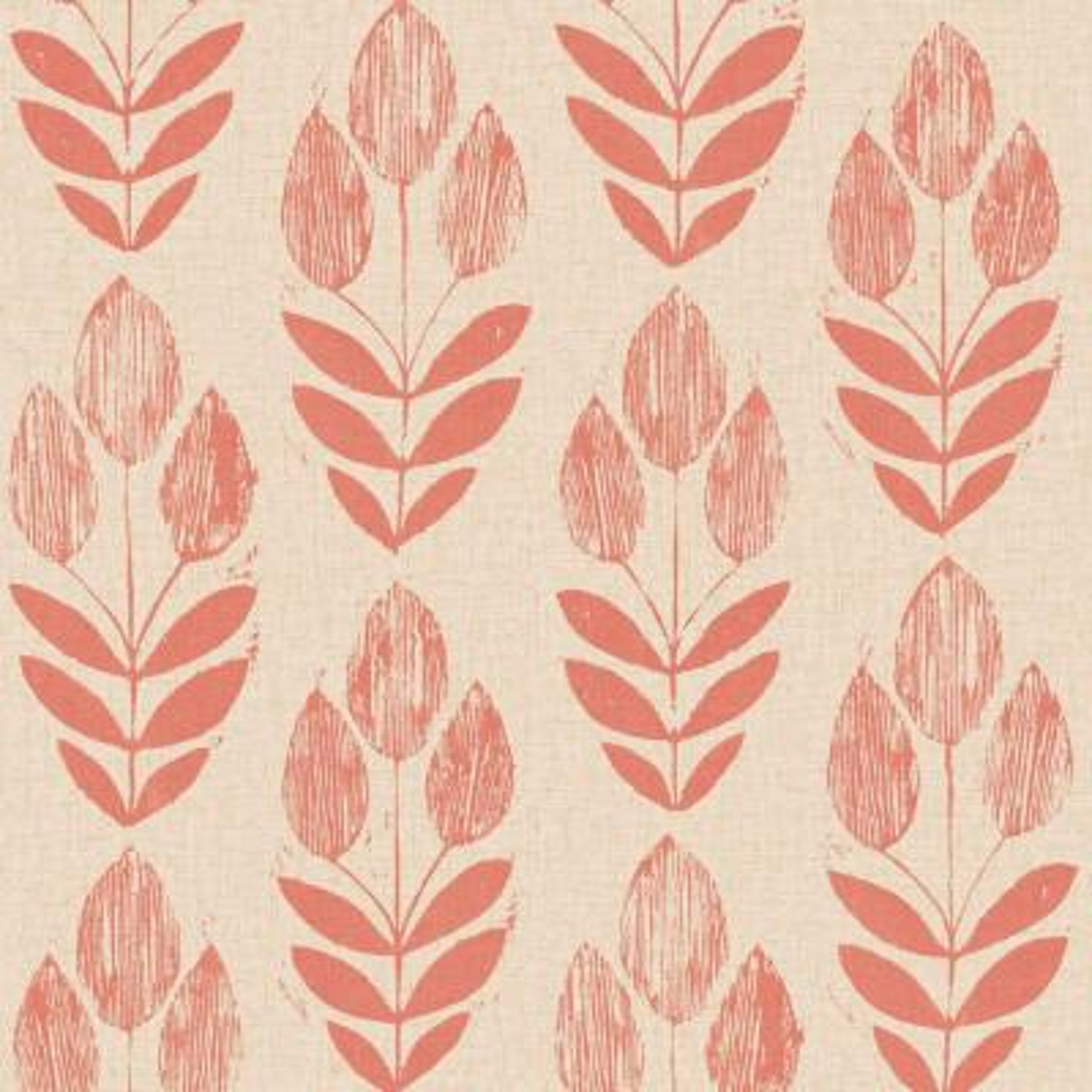 Scandinavian Red Block Print Tulip Wallpaper Sample