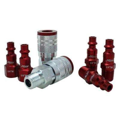 ColorFit by Milton Coupler & Plug Kit - (M-Style, Red) - 1/4 in.  NPT, (7-Piece)