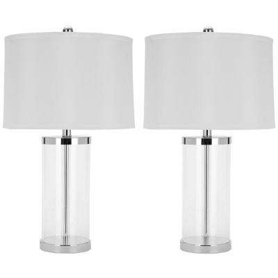 Jeanie 25.5 in. White Geneva Glass Cylinder Lamp with White Shade (Set of 2)