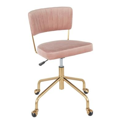 Tania Gold Task Chair Pink Velvet
