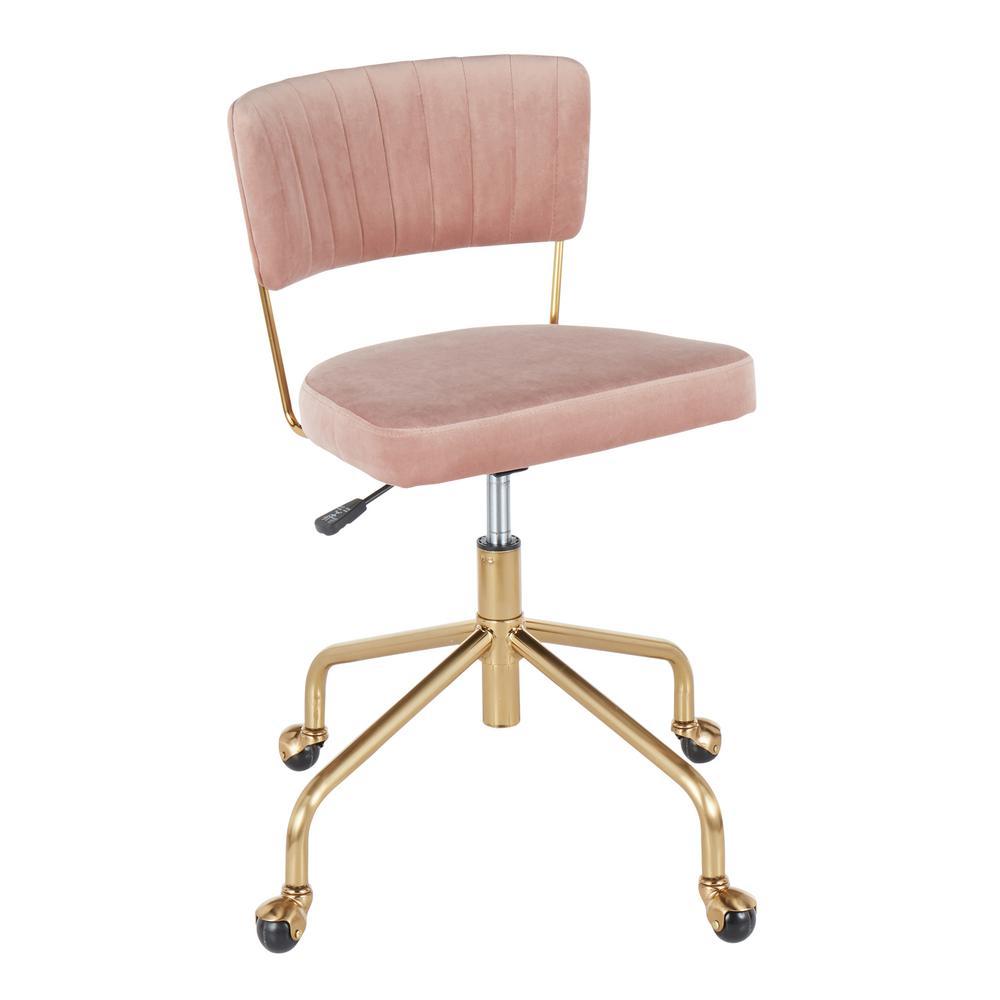 Tania Gold Task Chair Pink Velvet