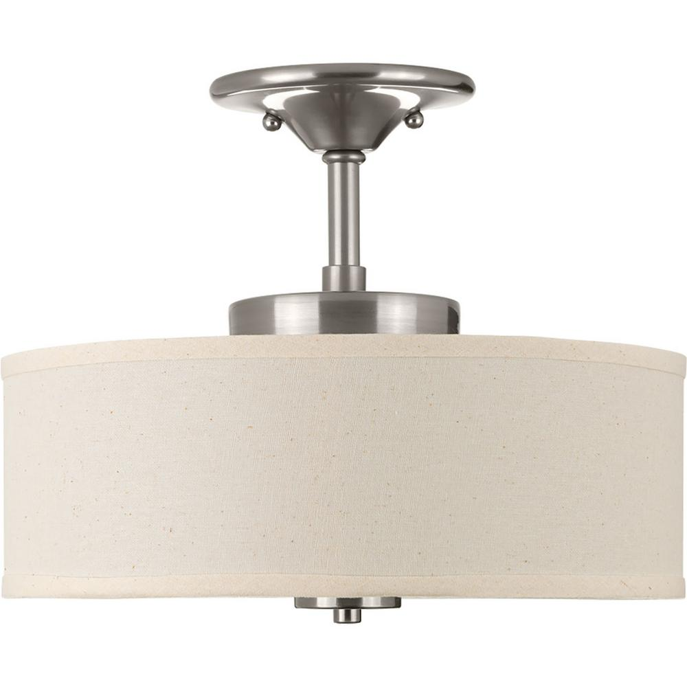4e1bf3be332 Progress Lighting Inspire Collection 17 -Watt Brushed Nickel Integrated LED  Semi-Flush Mount